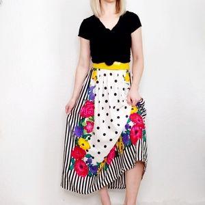 Vintage 80-90s Floral Polka Dot Striped Midi Skirt